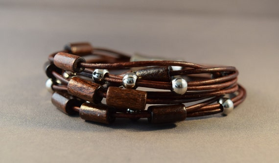 Leather women bracelet-  Beaded Bracelet in brown leather with stainless steel and wood beads, Christmas gifts