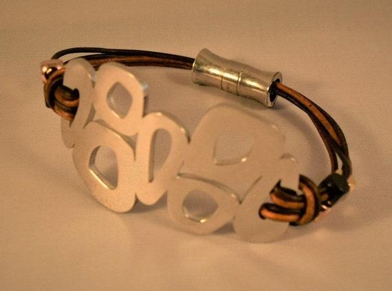 Womens leather bracelet, Womens cuff bracelet, Charm bracelet, Silver charm bracelet, Women wrist bracelet, Gifts for friend, Brown bracelet