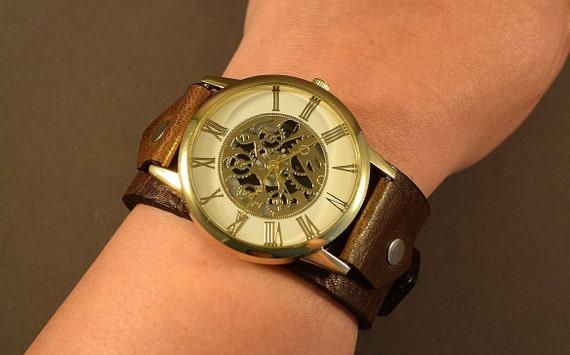 Leather Watch-Brown Watch-Mens Watch-Leather Cuff Watch-Women Watch-Gifts-Bohemian Watch-Cuff Watch-Gifts For Men-Men Cuff Watch-Men Jewelry