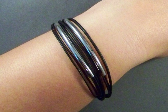Women black leather bracelet with stainless steel tubes