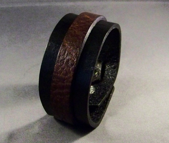 Leather Cuff-Black Cuff-Leather Bracelet-Men's Leather Bracelet-Leather-Cuff Bracelet-Men's Bracelet-Womens Wrist Bracelet-Gifts- Brown Cuff