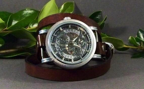 Wrap Watch-Steampunk Watch-Mechanical Watch-Men Watch-Women's Watch-Skeleton Watch-Men's Wrist Watch-Gifts-Bracelet Watch-Leather Wrap Watch