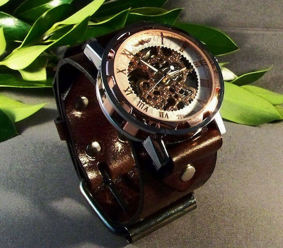Steampunk wrist watch, Watch for women in vintage brown leather, Mechanical watch, Women skeleton rose watch, Watch for men, Christmas gift