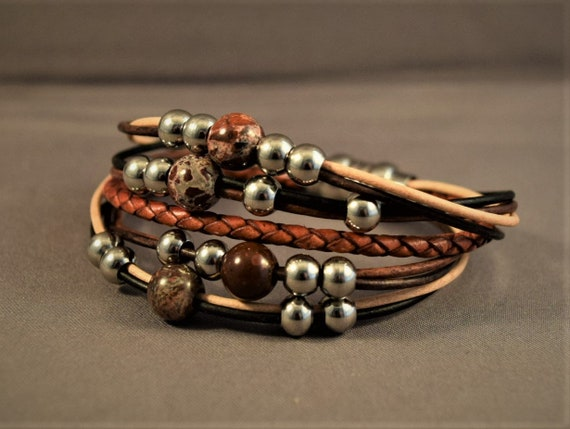 Braided women leather bracelet with beads and stones, Boho bracelet, Brown leather bracelet, Beaded bracelet, Christmas gifts for her