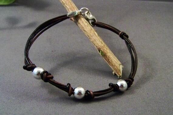 Sterling Silver-Leather Bracelet-Women Bracelet-Friendship Bracelet-Brown Bracelet-Charm Bracelet-Beaded Bracelet-Gifts-Friendship Gifts
