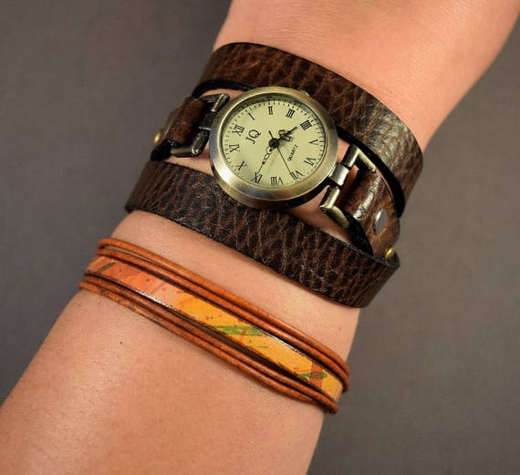 Leather jewelry set, wrap watch for women with leather bracelet, Brown leather watch, Christmas gifts for her