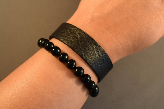 Leather bracelet-Women Bracelet-Black Leather Bracelet-Leather Wristband-Men's Cuff-Women's Cuff-Agate Bracelet-Gifts For Her-Gifts For Him
