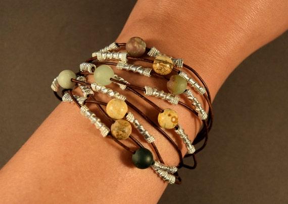 Womens leather bracelet, Leather cuff bracelet for women, Beaded bracelet, Sterling silver bracelet, Gemstones leather bracelet, Gifts