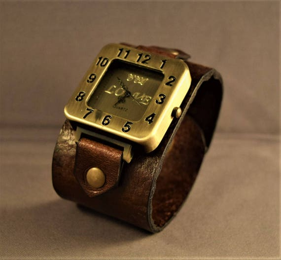 Leather Watch-Women Watches-Brown Leather Watch-Watches For Women-Gifts For Her-Mother's Day Gifts-Cuff Watch-Wrist Leather Watch-Bracelet