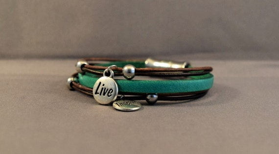 Leather Green Bracelet with Inspirational Charms-Women Leather Bracelet-Wrist Women Bracelet-Friendship Bracelet-Birthday Gifts For Her