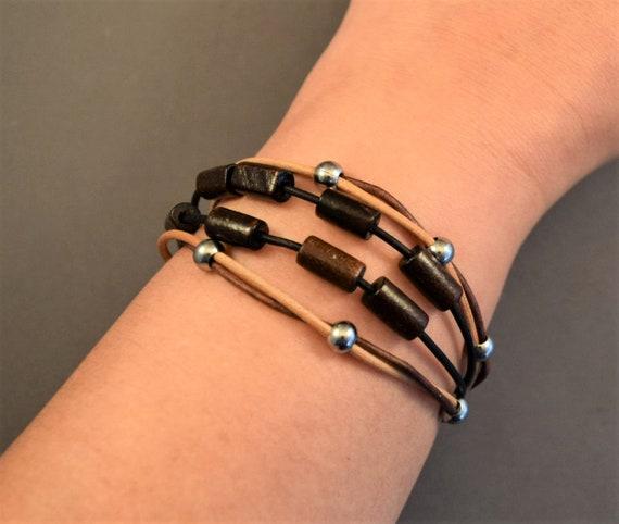 Bohemian leather bracelet, Womens bracelet, Beaded bracelet, Christmas gifts for her, Wood beads bracelet