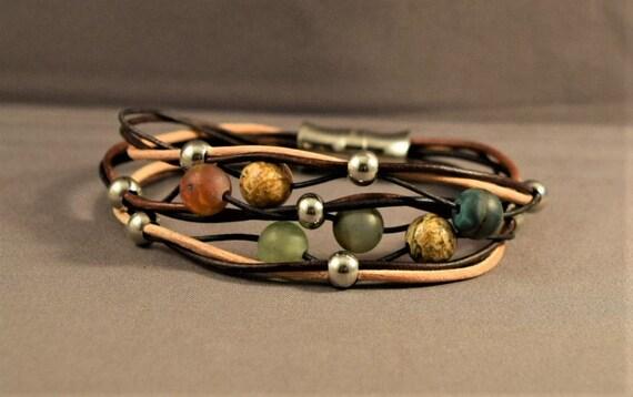 Womens leather bracelet, Gemstones bracelet, Beaded bracelet, Bohemian bracelet, Brown leather bracelet, Christmas gift