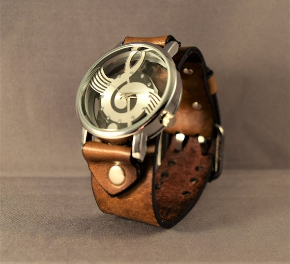 Watch-Brown Watch-Gifts-Gift for Him-Gift for Her-Watches-Leather Watch-Women Watches-Men's Watches-Musician Gifts-Ladies Watches