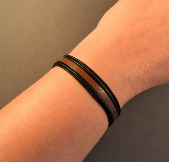Leather bracelet for mens-Leather bracelet for her-Brown leather bracelet- Black leather bracelet-Christmas gifts for him-Gifts for women