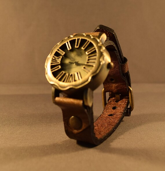 Womens leather watch, Mens leather watch, Brass watch, Leather watch band in vintage brown, Christmas gift, Single watch style
