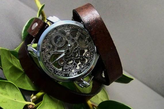 Steampunk men watch, Steampunk women watch, Wrap watch, Watches for women, Watches for men, Vintage watch, Skeleton women watch, Mens Watch