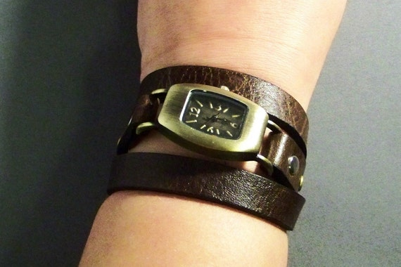 Leather Watch-Wrap Watch-Brown Leather Watch-Ladies Watch-Women Watch-Bracelet Watch-Friendship Gifts-Gifts For Her-Birthday Gifts-