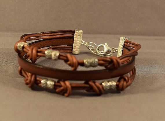 Beaded Bracelet-Leather Gifts-Leather Bracelet for Her-Gift For Her-Gift For Women-Gift Best Friend-Birthday Gift-Sterling Silver Bracelet