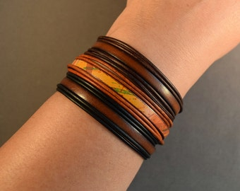 Leather Bracelet-Brown Bracelet-Women Bracelet-Jewelry Set-Friendship Bracelet-Gifts-Bangle Bracelet-Gift For Him-Gift For Her-Boho Bracelet