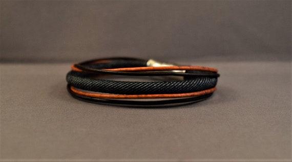 Womens leather bracelet, Denim bracelet, Mens lether bracelet, Bracelet in different color, Christmas gifts for her, Bangle bracelet