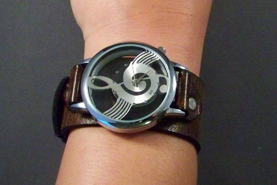 Music Watch-Musician gift-Music Jewelry-Music gift for men-Christmas Gift for musician-Brown leather watch