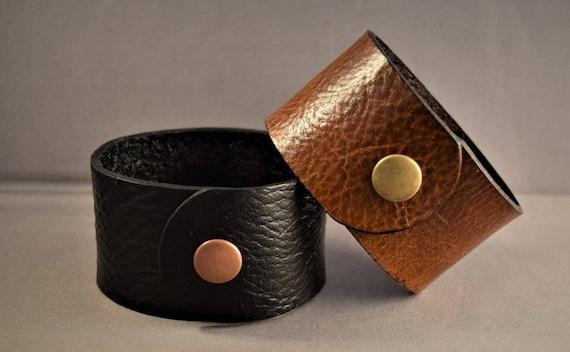 Leather cuff  bracelet  for women-Leather cuff bracelet for men-Vintage brown leather cuff-Black leather cuff