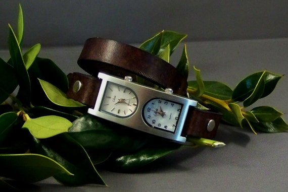 Leather Watch (Double Dial)