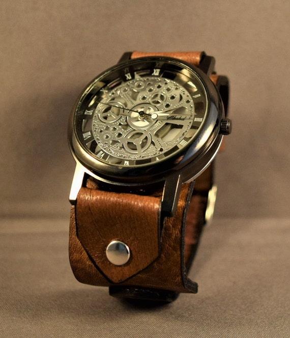 Steampunk wrist watch-Leather watch-Steampunk Watch-Mens Watch-Women Watch-Womens Skeleton watch-Steampunk watch women-Steampunk  watch men