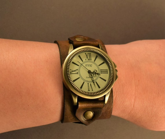 Leather men watch, Watch for women, Bohemian watch in vintage brown leather with antique brass watch face, Christmas Gifts