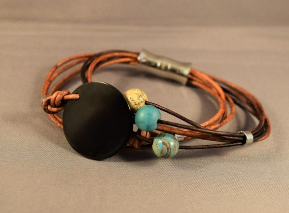 Womens leather bracelet, Charm leather bracelet, Beaded leather bracelet, Turquoise bracelet