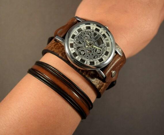 Leather jewelry Set-Women watch-Men watch-Skeleton watch-Leather Bracelet-Vintage leather watch-Steampunk watch