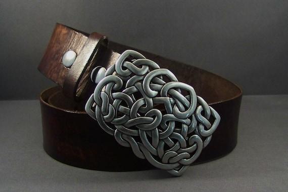 Leather belt in vintage brown, Belt for men, Belt for women, Celtic silver buckle, Christmas gift for him