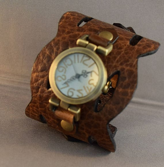Leather women cuff watch, Unique ladies watch in vintage brown leather, Leather watch with antique brass watch face, bohemian watch, Gifts