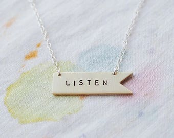 Listen Sterling Silver or Brass Necklace. Can Be Personalised. Custom Necklace. Banner Flag Pennant