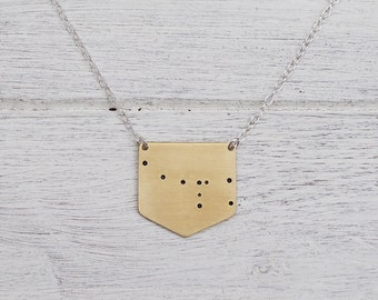 Ursa Minor 'Little Bear' Constellation Necklace in Brass or Sterling Silver Star Cluster Necklace
