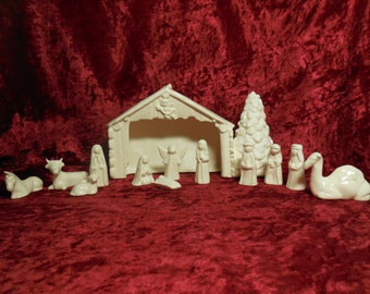 Nativity Set, 13 Piece Set with Stable, Ceramic Nativity, Glazed Ceramic Nativity, Nativity Set