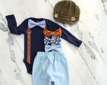Baby Boy Christmas Holiday Set up to 4. Bow Tie Suspender Bodysuit, Pants, Leg Warmers & Knit Newsboy Hat Newborn Coming Home Outfit Gift