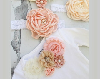 Baby Girl Valentine's Outfit. Blush Pink, Ivory, Peach, Buff and Gold. Floral Bodysuit, Diaper Cover, Ruffle Rose Leggings & Headband Easter