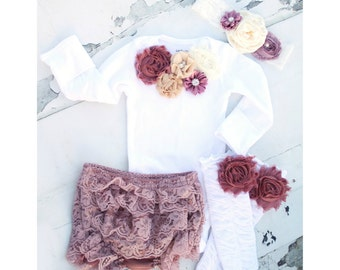 Baby Girl Easter Spring Boho Chic Outfit Mauve, Wine, Ivory Cream Lace Gift Set. Floral Bodysuit, Diaper Cover Ruffle Rose Leggings Headband