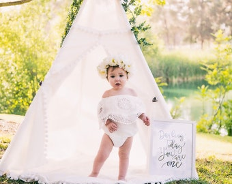 Summer Boho Chic White Lace Cold Shoulder Romper Sash & Headband. Newborn Baby Girl Coming Home Outfit, 1st Birthday, Mommy Me Matching