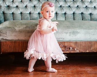 Baby Girl Birthday Dress & Lace, Velvet or Satin Rose Headband 1st Birthday Outfit, Valentine's Day, Easter Sisters Matching Sz 1-8 Years