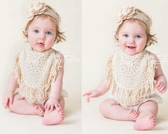 Summer Boho Chic Ivory Cream Lace Romper & Headband.  Newborn Baby Girl Coming Home Outfit, 1st Birthday Outfit Mommy Me Linen like Spring