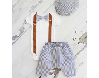 Newborn Baby Boy Coming Home Outfit Set, up to 3 Items. Bow Tie Suspender Bodysuit, Harem Pants & Seer Sucker Newsboy Hat Tie Easter Spring
