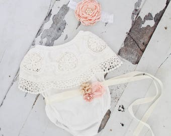 Summer Boho Chic White Lace Cold Shoulder Romper Sash & Headband. Newborn Baby Girl Coming Home Outfit, 1st Birthday, Mommy Me Spring