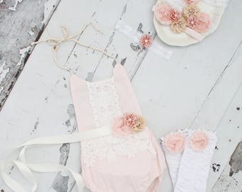 Summer Outfit Boho Chic Blush Pink Lace Romper & Headband. Newborn Baby Girl Coming Home Outfit, 1st Birthday Outfit, Summer Set, Mommy Me
