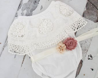 Summer Boho Chic White Lace Cold Shoulder Romper Sash & Headband. Newborn Baby Girl Coming Home Outfit, 1st Birthday, Mommy Me