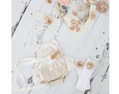 Summer Tan Boho Lace Romper Sash Ruffle Leg Warmers Headband Newborn Baby Girl Coming Home Outfit 1st Birthday Mommy Me Birthday Romper