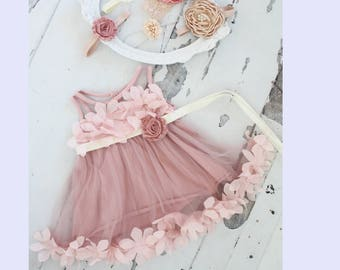 Baby Girl Birthday Dress & Lace, Velvet or Satin Rose Headband 1st Birthday Outfit, Valentine's Day, Easter Sisters Matching Sz 1-8 Yeara