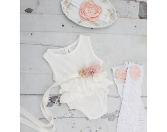 e73489139 Summer Boho Chic White Ruffle Romper w Blush Sash & Headband. Newborn Baby  Girl Coming Home Outfit, 1st Birthday Outfit Summertime Mommy me