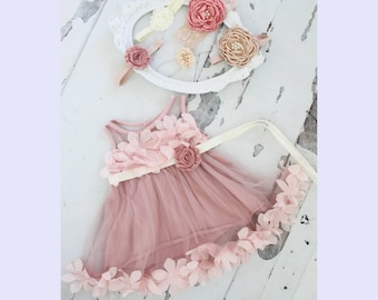 Baby Girl Birthday Dress w Sash & Lace, Velvet or Satin Rose Headband 1st Birthday Outfit, Sisters Matching Sz 1-8 Years, Flower Girl Dress
